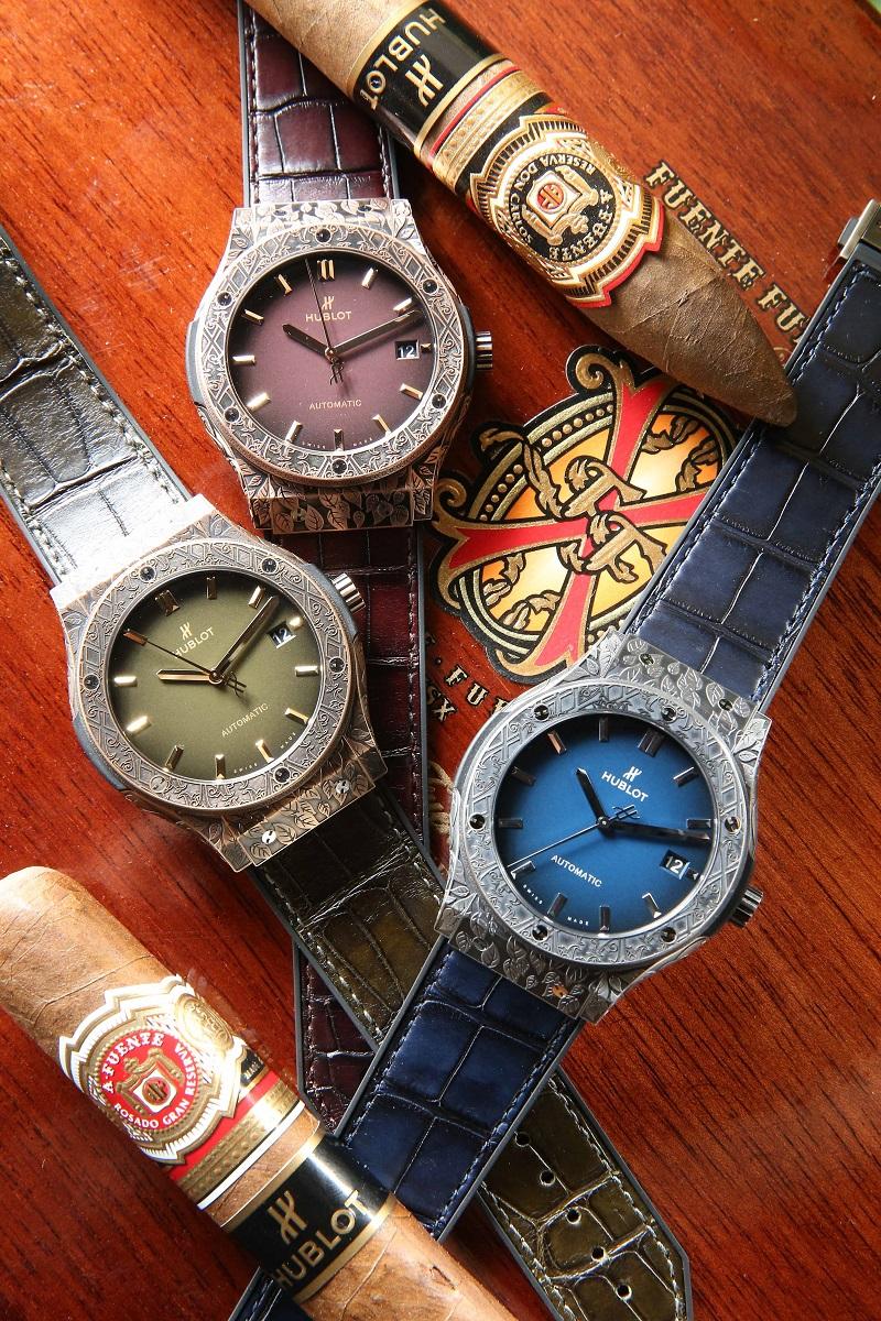 HUBLOT 經典融合系列 FUENTE 聯名款限量腕錶(由上至下:皇金限定款 NTD 978,000、青銅限定款 NTD553,000、鈦金屬限定款 NTD 488,000)