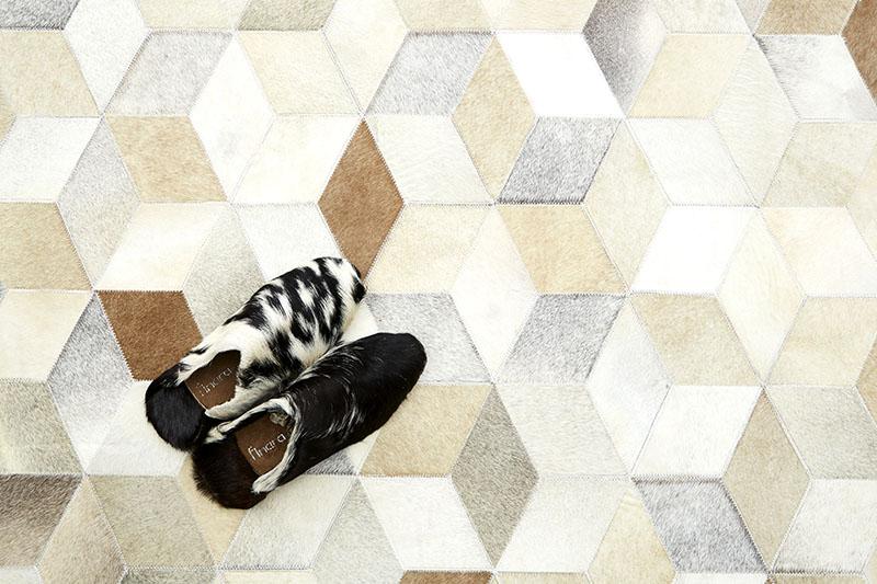 手工製天然原色牛皮馬賽克玄關地墊-床邊毯手工地毯-波西塔諾 (1)