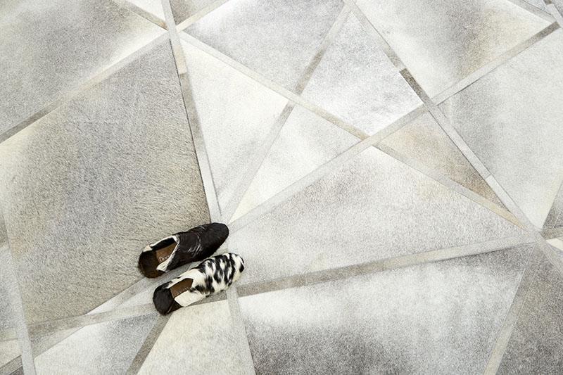 手工製天然原色牛皮馬賽克豪宅客廳地毯-雪梨 (1)