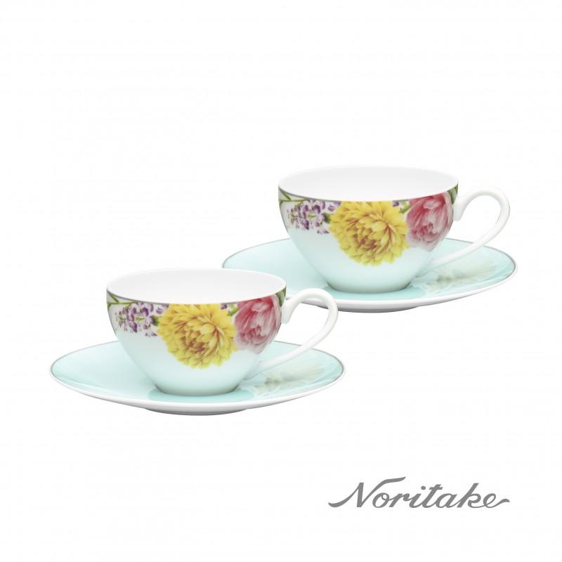 日本Noritake野宴咖啡對杯-淨白瓷