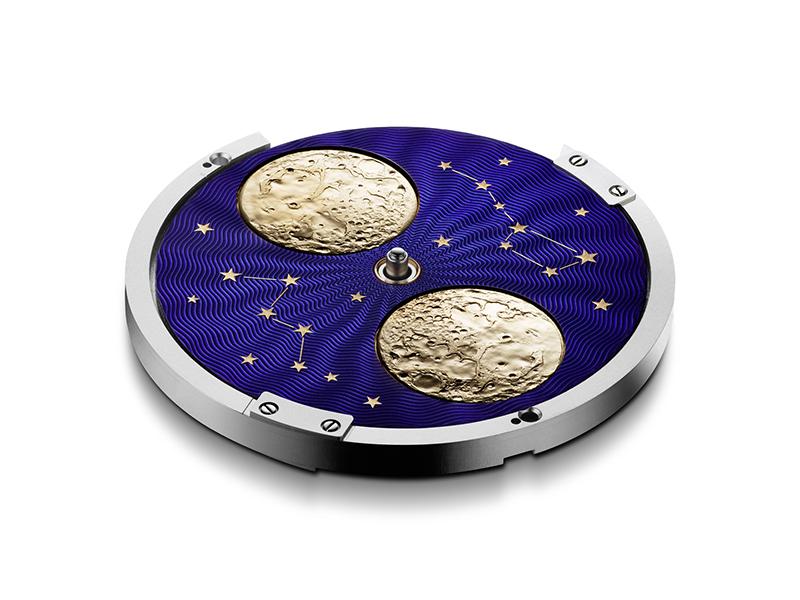 此款手錶堪稱市面上最大月相,而此南北半球同時顯現的設計,實屬難得。