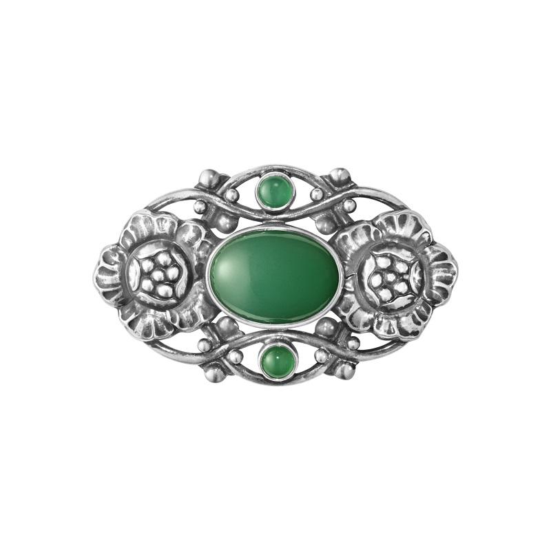 10016805 GEORG JENSEN-限量系列-編號89純銀綠瑪瑙胸針-建議售價NTD14,000