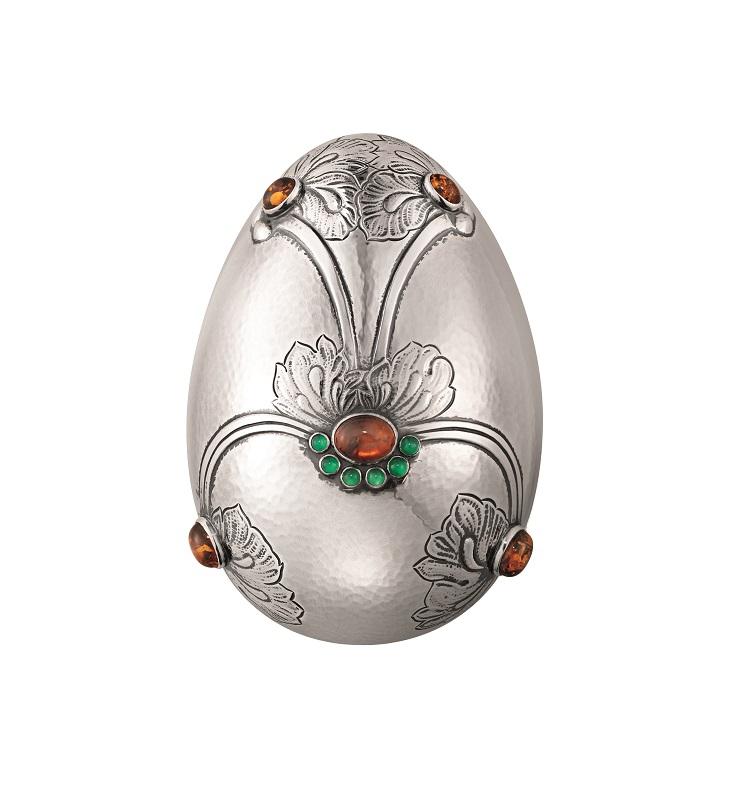 3522201 GEORG JENSEN-銀雕藝作-寶石浮雕銀蛋