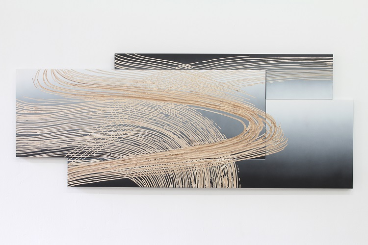 Wfla-03 (KW-49), Relief _Untitled (shift), 189x75cm, 2020, plywood, spray paint and carved