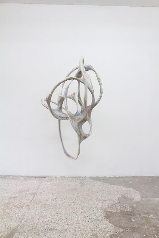 Wfla-12, Sculpture _Copernicus_, appr. 180x100x100cm, 2020, wood, papermache, paint, enamel
