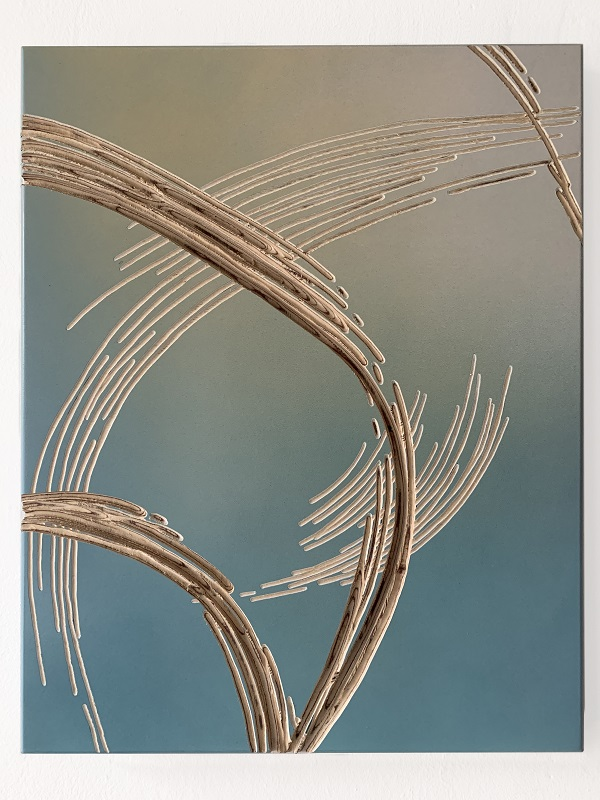 Wfla-15, Relief (fadebroom)(smokeblue), 44X33cm, 2020, Plywood, spray paint and carved