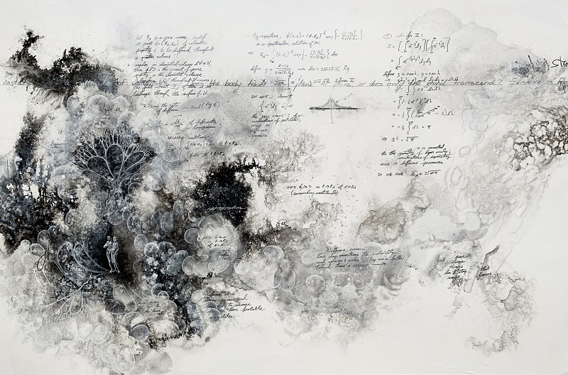 Cpru-39,SpookyAction1,2020, 66x99cm, Ink, graphite and acrylic on Yupo paper, sealed with UVLS Satin Varnish