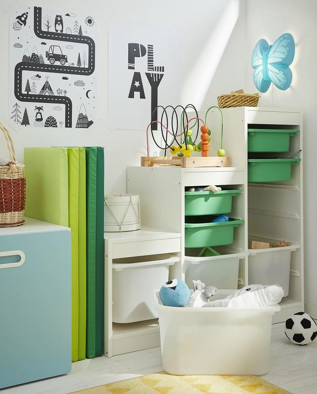 圖說2:「TROFAST兒童收納櫃」能依照不同時期需求組合且方便孩子使用。除了家具材料安全無毒之外,也同步注意產品的圓滑邊角設計預防碰撞受傷。