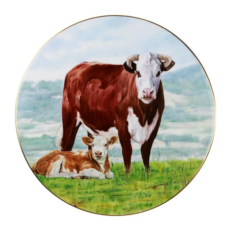 手繪圓滿牛圓盤 25cm畫師-Yamada訂價280000