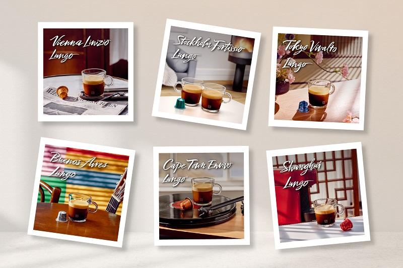 圖2. Nespresso「環遊世界大杯咖啡系列」帶您品味東京細緻花香、穿梭維也納古典世界、體會開普敦生活脈動、感受上海明媚早晨、享受斯德哥爾摩愜意溫暖及徜徉布宜諾斯艾利斯熱鬧街道。