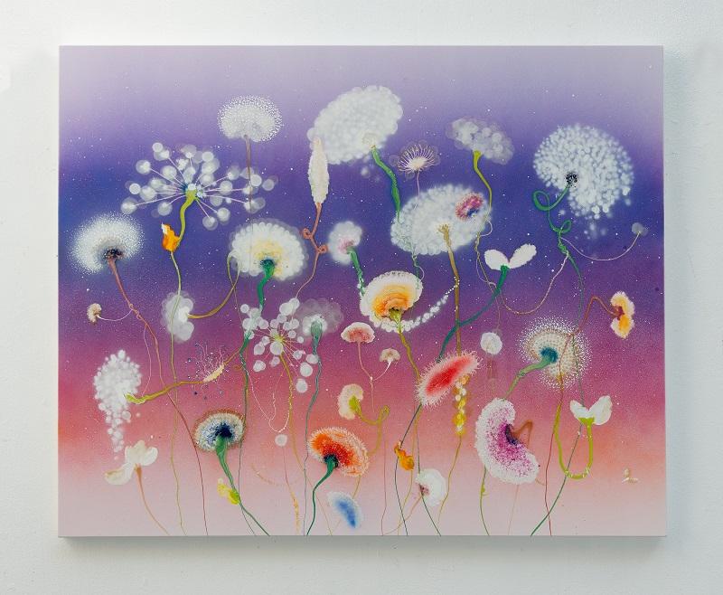 Tfeu-52 Raingarden Floris, 130 x 160 cm, 2021, Lacquer and acrylic on canvas
