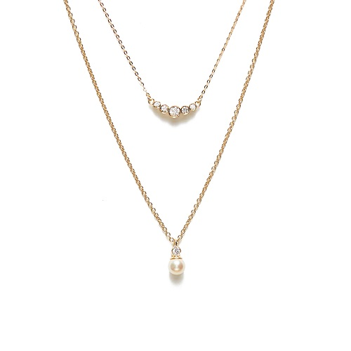 層次寶石珍珠雙鍊,定價NT$11,500。(圖/ARTISMI提供)