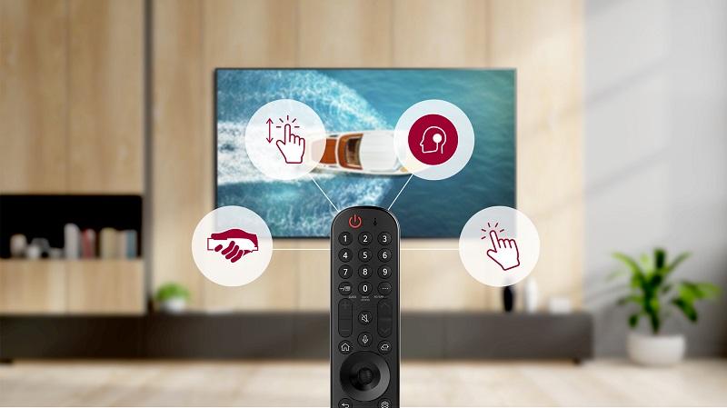 LG 2021 年電視全系列搭配全新 AI 語音滑鼠遙控器,流線外型、易於手持,透過語音聲控、簡單方便設定功能,領先世界的 ThinQ 物聯網串聯技術,盡享智慧便利新生活。
